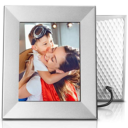 Nixplay Iris 8 Inch Digital Wifi Photo Frame W08E Silver - Digital Picture Frame with IPS Display, Motion Sensor and 10GB Online Storage, Display and Share Photos with Friends via Nixplay Mobile App