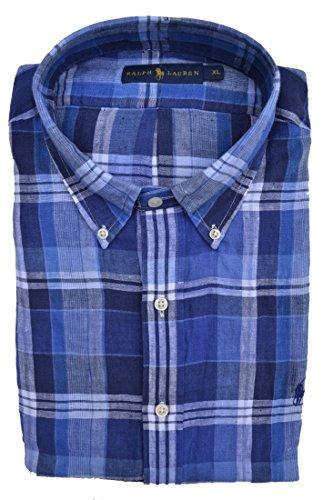 Ralph Lauren Hemd Plaid Linen Button Down 100% Leinen Blau Weiß kariert