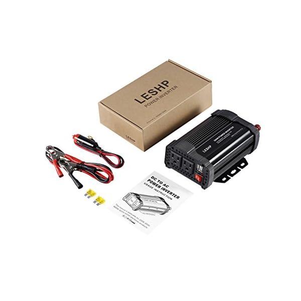 Power Inverter ConverterLESHP 400W 12V DC To 110V AC Modified Sine Wave Car Power Inverter Converter With Cigarette Lighter Alligator Clips Cable