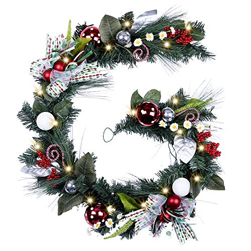 Teresa's Collections Pre-Lit 6 Feet/72 Inch Joful Elf Christmas Garland with Ball Ornaments,Berries,Candy Canes,Ribbons and Flowers,Battery Operated 20 LED -