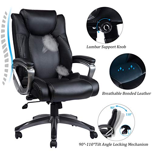 VANBOW Leather Memory Foam Office Chair – Adjustable Lumbar Support Knob and Tilt Angle High Back Executive Computer Desk Chair, Thick Padding for Comfort Ergonomic Design for Lumbar Support, Black