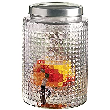 Circleware Windowpane Glass Beverage Drink Dispenser with Fruit Infuser, Metal Lid and Chrome Spout, 2.7 Gallon Capacity, Limited Edition Glassware Serveware Drinkware