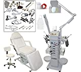 17 in 1 Multifunction Diamond Micro Dermabrasion Facial Machine & Fully Adjustable Electric Massage Bed Chair Table Package Salon Spa Beauty Equipment