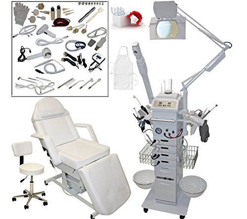 17 in 1 Multifunction Diamond Micro Dermabrasion Facial Machine & Fully Adjustable Electric Massage Bed Chair Table Package Salon Spa Beauty Equipment by LCL Beauty