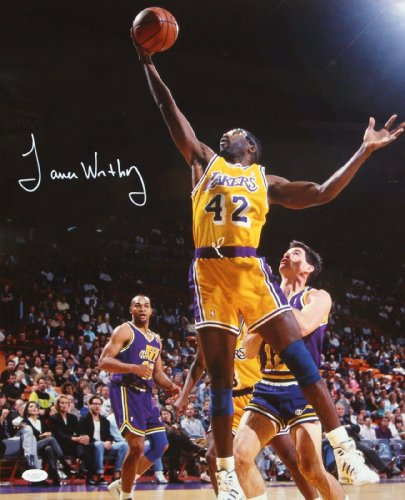 James Worthy Autographed 16x20 In The Air LA Lakers Photo- JSA Authenticated