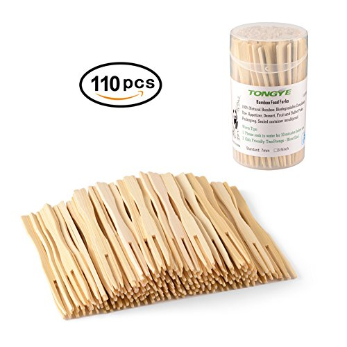 Flat Dessert (TONGYE Bamboo Forks 3.5 Inch, Mini Food Picks for Party, Banquet, Buffet, Catering, and Daily Life. Two Prongs - Blunt End Toothpicks for Appetizer, Cocktail, Fruit, Pastry, Dessert. (110 PCS))