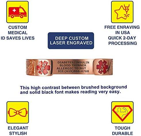 Divoti Custom Engraved Medical Alert Bracelets for Women, Stainless Steel Medical Bracelet, Medical ID Bracelet w Free Engraving – Fancy Paisley w 6 Cuff fits 6.5-8.0 Color
