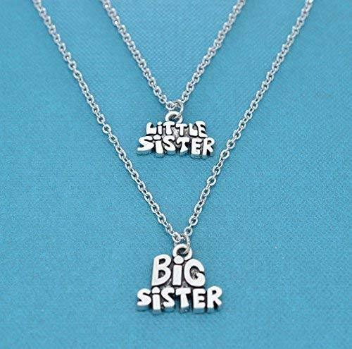 Big Sister Little Sister Necklace Set In Silver Two Necklace Set Matching Sister Necklaces Sister Gifts New Baby Gifts