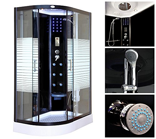 Home Deluxe Black Pearl 120x80 cm links Duschtempel, inkl. komplettem Zubehör