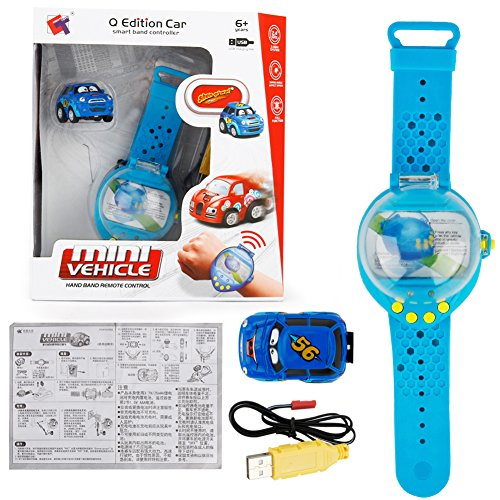 Ocamo Mini Reloj de Dibujos Animados con Coche de Inducción de la Gravedad con Control Remoto de Juguete USB de Carga