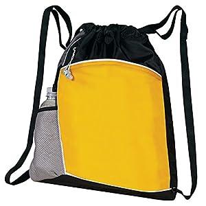 Sporty Holder Drawstring Duffle Travel Bag - Black-Gray-Yellow