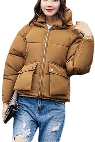 Parkas Acolchado Caliente Mujer Casual Corta La Grueso Invierno Outwear marrón Hoodie Zip nFWqxcnzf