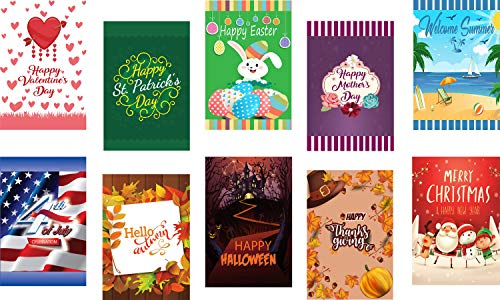 Seasonal Garden Flag Set of 10 for Outdoors - 10 Pack Assortment of 12 x 18 inch Large Holiday Yard Flags - Double Sided Colorful Design for All Seasons and Holidays - Premium Quality Durable Material]()