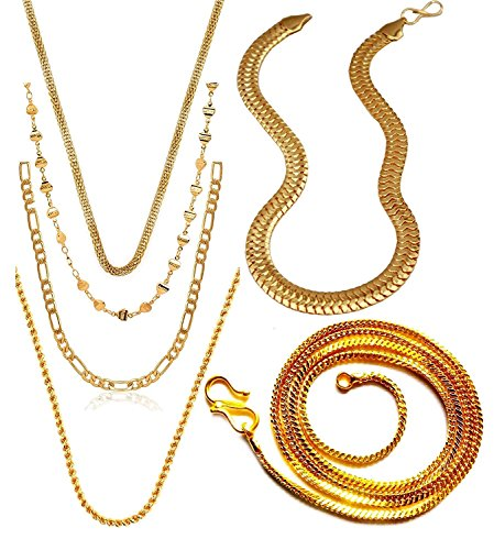 Charms Combo Of Six Gold Plated Chains For Boys & Men