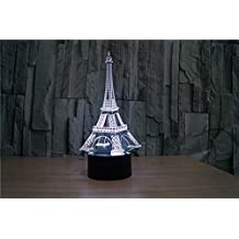 HYSENM Optical Illusion Light 3D Night Lamp 7 Colors Changing Table Top Decoration for Bedroom Living Room Party, Eiffel Tower