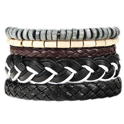 azhuang Fashion 4 Pcs/Set Charm Leather Bracelet with Tree of Life Beads Rope Bracelet Women Men, R20 (R20 Thread)