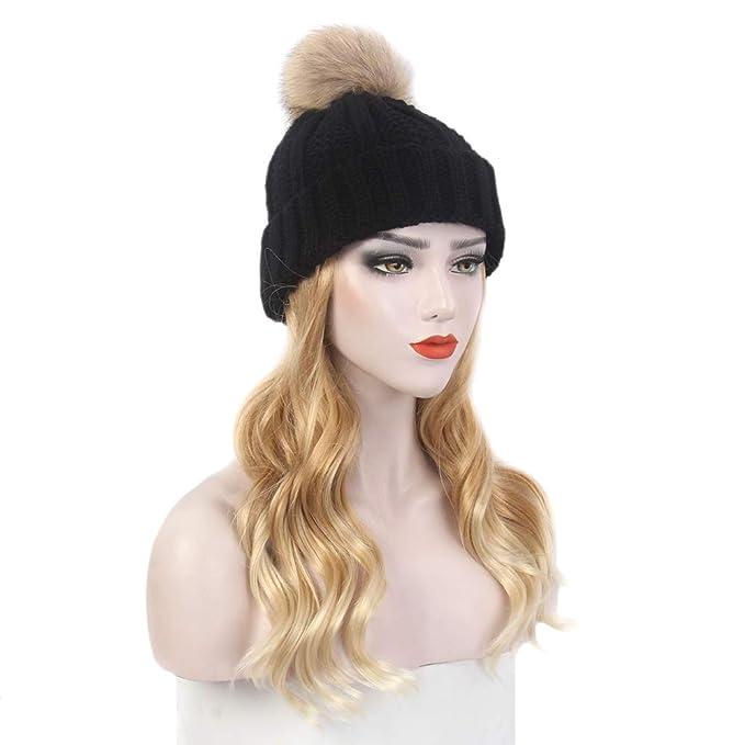 CHENLU Winter Artificial hair Hats For Women Knitted Artificial hair Artificial hair Hat With Ball Ear Caps Casual Lady Hats Beanies