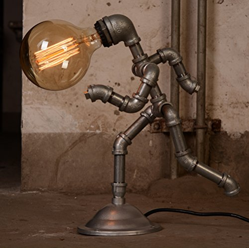 retro lighting. Vintage Style Running Man Steampunk Water Piping Desk Top Table Lamp Rustic Home Deco Steam Punk Retro Lighting