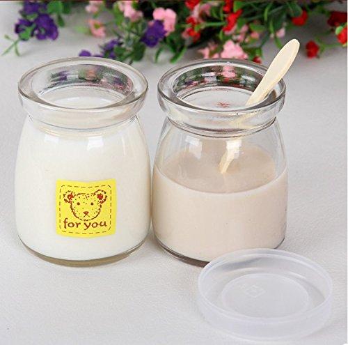 Astra shop Yoghurt Jars pudding Jar with Lid (3oz) 1set (6jars) Replacement Glass Jars for Yogurt Maker