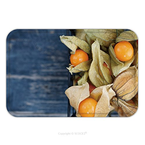 Flannel Microfiber Non-slip Rubber Backing Soft Absorbent Doormat Mat Rug Carpet Top View On The Physalis Fruit In A Black Basket_687165952 for Indoor/Outdoor/Bathroom/Kitchen/Workstations
