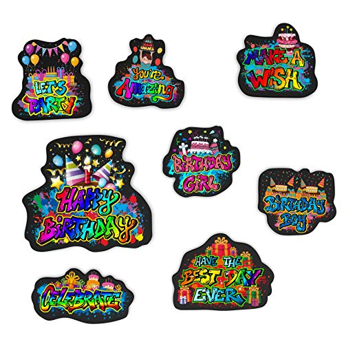 Birthday Locker Decorations (Happy Birthday Magnets| Graffiti Design| 8 Pack |Refrigerator Magnets| Embossed Magnets for School Lockers, Accessories, Office, And)