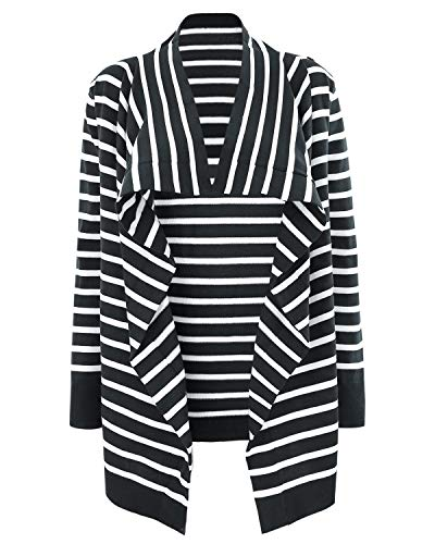 Belted Sleeve Maternity Sweater (StrabElla Women's Sweater Knit Maternity and Nursing Long Sleeve Cardigan Open Front Stripe Belted Top)