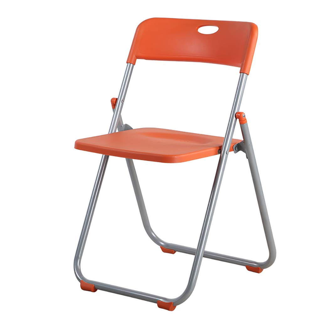 orange Folding Chair Home Leisure Chair Portable Meeting Training Computer Chair Backrest Chair Five colors. (color   RED)
