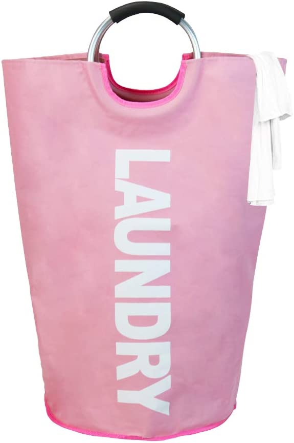 Cosaving Large Laundry Basket Collapsible Laundry Hamper Tote Bag with Handle Portable Waterproof Durable 600D Oxford Fabric, 15x15x28 inch, Pink