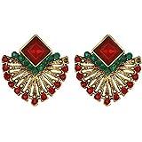 Potelin Premium Quality Women Vintage Ethnic Style Crystal Earrings Fan-Shaped Bohemian Ear Stud Gift