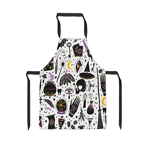 Pinbeam Apron Pattern Magic Witch Witchcraft Alchemy Black Bohemian Drawing with Adjustable Neck for Cooking Baking Garden