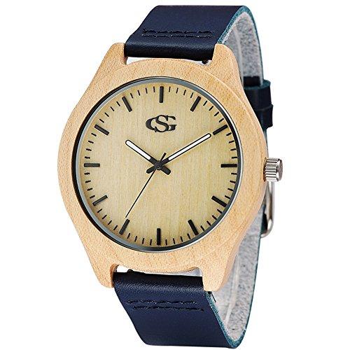 GEORGE SMITH Unisex 45 mm Handmade Natural Wooden Watch with Genuine Leather Strap Fashion Bamboo Watch Wood Watch Quartz Analog Wrist Watch (Navy Blu…