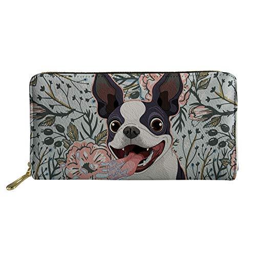 Cozeyat Women PU Leather Wallet Cute Dog Boston Terrier Purse Clutch Stylish Zip Around Wallet Card Holder