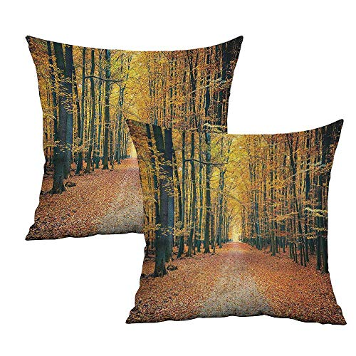 Khaki home Forest Square Personalized Pillowcase Romantic Alley Woods Square Travel Pillowcase Cushion Cases Pillowcases for Sofa Bedroom Car W 18