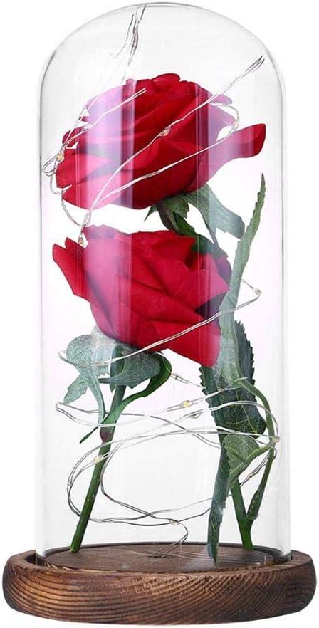 Prosperveil - Kit de rosas de seda encantadas con luz LED en forma de cúpula de cristal, regalo para bodas, San Valentín, cumpleaños, fiesta