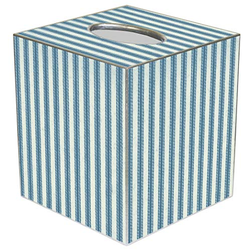Box Farm Tissue - Tissue Box Cover Tissue Holder Square Cube Farmhouse Bathroom Decor Rustic Bathroom Decor Beach Decor Blue Ticking Stripe 5
