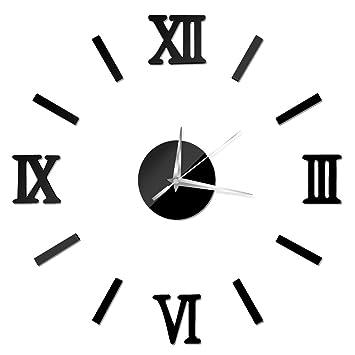 Mcitymall77-Reloj de Pared 3D con Números Adhesivos DIY Bricolaje Moderno Decoración Adorno para Hogar Habitación 60cm color negro: Amazon.es: Hogar