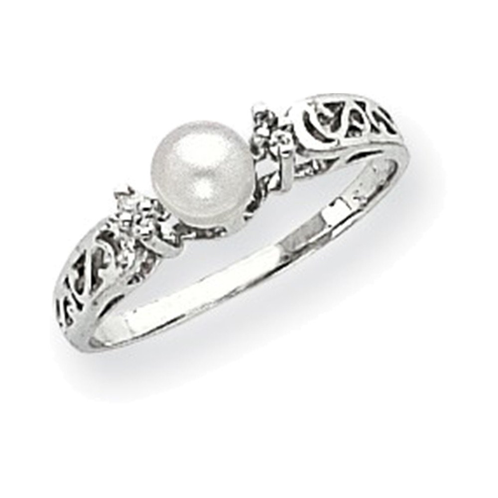Jewelry Adviser Rings 14k White Gold 6mm FW Cultured Pearl A Diamond ring Diamond quality A I2 clarity, I-J color