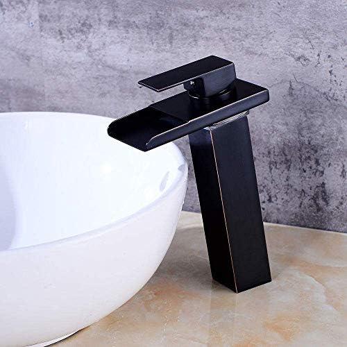 CHENBIN-BB バスルームのシンクの蛇口の下でカウンター洗面蛇口制御スロット付き浴室の洗面台のシンクホットコールドタップブラック古代流域の蛇口の浴室の滝の蛇口洗面LED温度をタップ