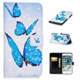For iPhone 7 Plus/8 Plus (5,5 zoll) Case,iPhone 7 Plus/8 Plus (5,5 zoll) Holster, Ecoway Light oil Case Practical Multifunction Anti Scratch Flip Fashion Painted pattern design PU Leather Stand Function Card Holder and ID Slot Case Cover Protective Skin Cover for iPhone 7 Plus/8 Plus (5,5 zoll) - Blue butterfly