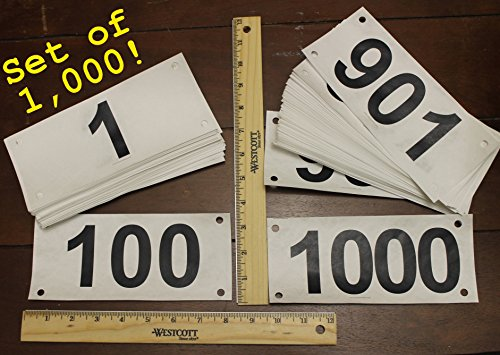 Race official competitor numbers basic tyvek bib numbers - set of 1,000, 1 to 1000 - industry standard tyvek tear proof and water proof