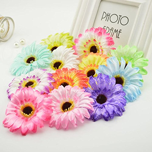 Daisy Gerbera Balloons (5Pcs Simulation Gerbera Silk Daisy for Home Wedding Car Party Decorative DIY Wreath Material Festival Artificial Flowers)