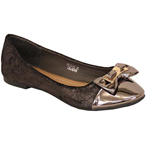 Chaussures Ballerines Pour Femmes Femmes Chaussures Plates À Enfiler Verni Nœud Mode Décontractée Neuf Gris - M18863 NsTvWbbb