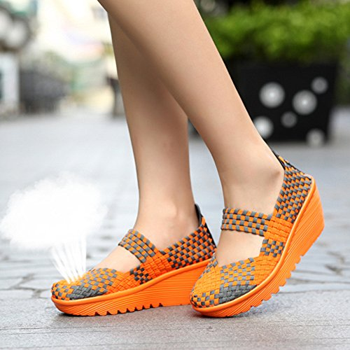EnllerviiD 3 Heel Toe Women Weave Sandals Sandals Orange Mary Closed Shoes Platform Jane Wedge 11cAOrq