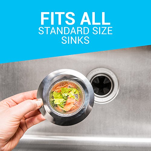 "Kitchen Sink Strainer (2-pack) - 4.5"" Diameter, Wide Rim Perfect for Most Sink Drains, Anti-Clogging Micro-Perforation 2mm Holes, Rust Free, Dishwasher Safe"