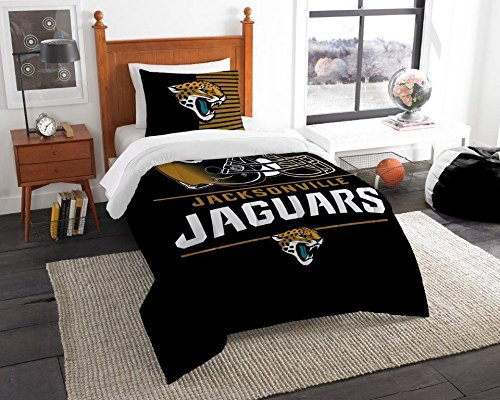 "Jacksonville Jaguars - 2 Piece TWIN Size Printed Comforter Set - Entire Set Includes: 1 Twin Comforter (64""x86"") & 1 Pillow Sham - NFL Football Bedding Bedroom Accessories"