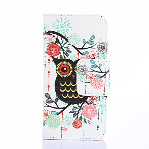 ihpone 6 Case,Hankuke Art Graphic PU Leather Magnet Flip Case with Kickstand and Card Holder for iPhone 6 (4.7-Inch) (black owl) (Vintage Owl Iphone 4 Case compare prices)