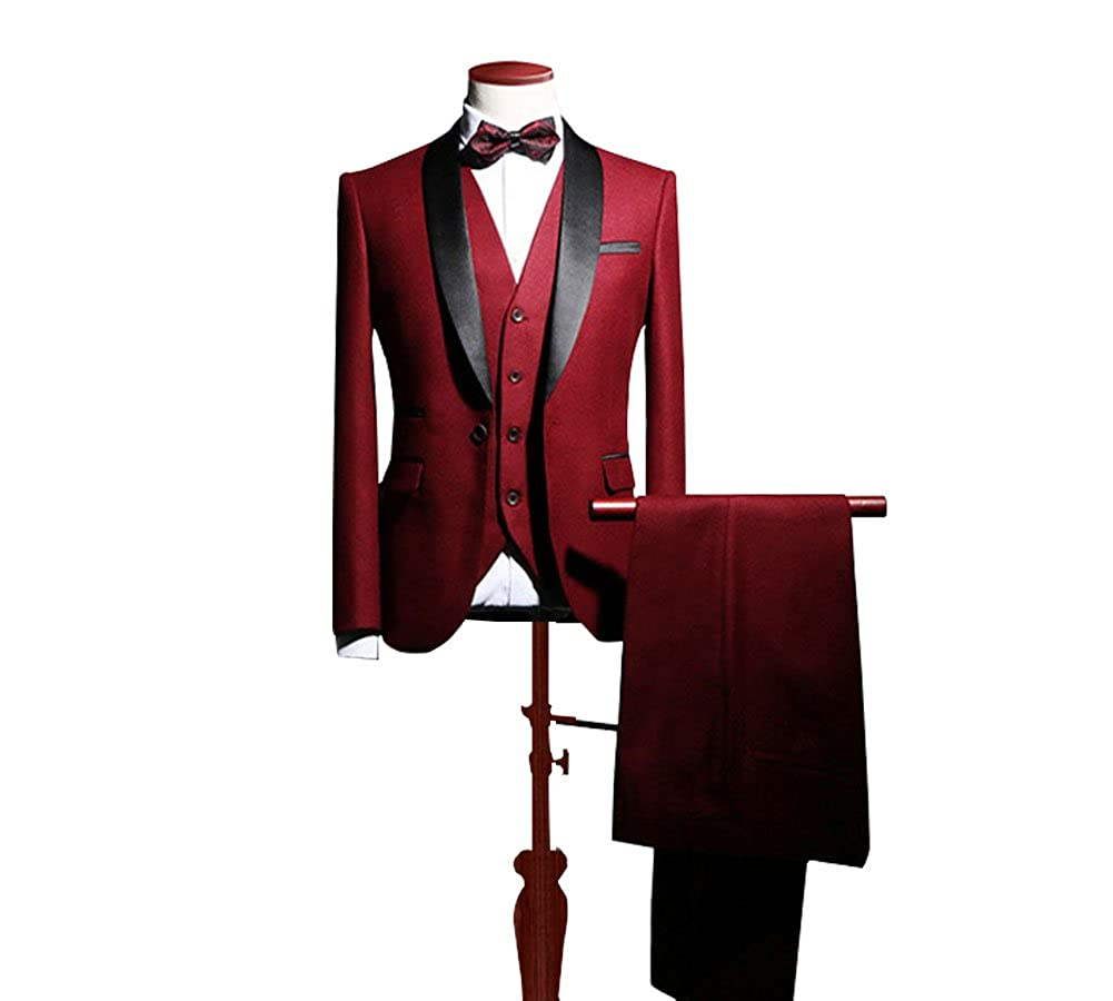 Botong Blue Shawl Lapel Men Suits 3 Pieces Wedding Suits for Men Groom Tuxedos