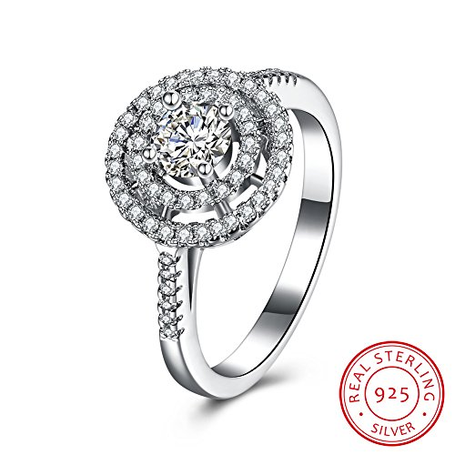 IVYRISE Luxurious Excellent Sparkle Round Hollow Shiny Wedding Anniversary Engagement 925 Sterling Silver Ring