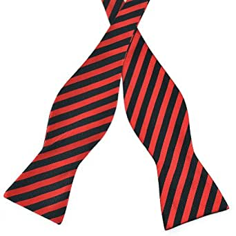Pensee Mens Self Bow Tie Classic Black & Red Stripes Jacquard Woven Silk Bow Ties