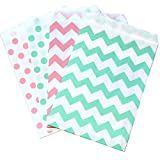 popcorn boxes mint - Pink Mint Green and White Paper Treat Sacks - Chevron Polka Dot Favor Bags- 5.5 x 7.5 Inches - 48 Pack